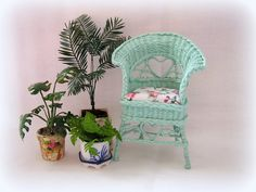 Dollhouse miniature Wicker Chair in Turquoise. €22.99, via Etsy.