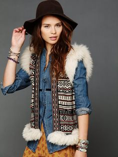 This vest is so freakin cute. Free People Trimmed in Fur Sweater Vest, $248.00