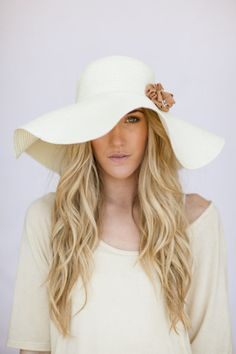 Floppy Sunhat Ivory Sun Hat with Taupe Flower Milliner Derby Women's Fashion Beach Cap Summer Shade Hat Oversized Brim Cream Wedding