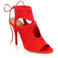 Aquazzura Sexy Thing Suede Cutout Booties ($595) ❤ liked on Polyvore featuring shoes, boots, ankle booties, heels, apparel & accessories, lipstick, bootie, cut out booties, booties et cutout booties