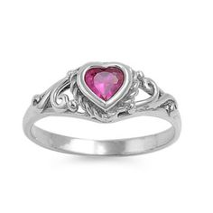 .925 Sterling Silver Ruby Red CZ Heart Ring Size 1 2 3 4 5 #11main #freeshipping #bladesandbling