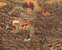 【五殿閻羅王】局部2 元 陸仲淵 絹本著色金泥掛軸。 縱85.9 cm橫50.8 cm 14世紀 奈良國立博物館藏。