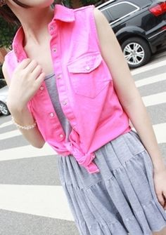 """""""Big mosquito VP""""  orders, Candy-colored sleeveless vest denim vest dress (retained) Women's Vests, Fashion Vest, Candy Colors, Denim, Big, Dresses, Style, Vestidos, Swag"""