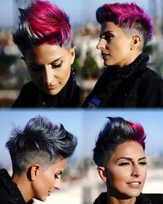 Hair Cutting Style how to style short razor cut hair Edgy Short Haircuts, Haircuts For Curly Hair, Pixie Hairstyles, Pixie Haircut, Pretty Hairstyles, Short Hair Cuts, Curly Hair Styles, Undercut Pixie, Men's Hairstyle