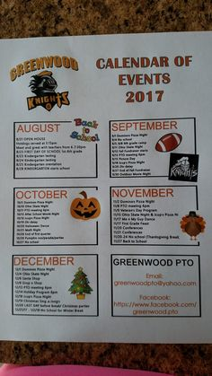 Like this idea of an at a glance Calendar of Events to send home to families