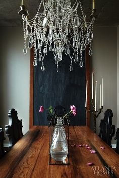 Crystal chandelier + black + wood in dining room. greige: interior design ideas and inspiration for the transitional home : Dramatic dining. Foyers, Home Interior, Interior Design, Beautiful Dining Rooms, Atlanta Homes, Chandelier Lighting, Chandeliers, Beaded Chandelier, Autumn Inspiration