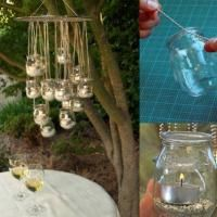 DIY: Recycled Glass Chandelier- & spare glass jars (mason jars, baby food, jam) & gridded cooling rack & and thin gauge wire & chain and locking links & large S hook & small S hooks & cutters & or small pebbles & tea lights Mason Jars, Mason Jar Crafts, Glass Jars, Candle Jars, Candle Holders, Glass Containers, Candle Craft, Bottle Candles, Empty Bottles