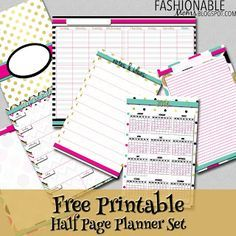 Fashionable Moms: Free Printable Planner Set - Gold, Pink and Teal - Half Page