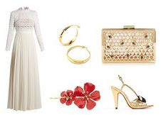 Dress, £325, by Self Portrait, from matchesfashion.com; earrings, £260, dinnyhall.com; bag, £45, skinnydiplondon.com; hair clip, £175, by Jennifer Behr, from libertylondon.com; sandals, £55.99, zara.com.