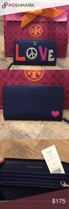 """NEW❣️Tory Burch Peace ZIP Continental Wallet✌🏼 NEW w tags! Tory Burch Peace ZIP Continental Wallet - comes with original tory tissue paper - features peace and love symbols - 8 interior cc slots - 2 bill pockets - 1 zipper pocket - 2 compartments - can fit all of your goodies - perfect for an everyday wallet or special occasion Clutch - Approx. 4.3""""H x 7.65""""L - perfect addition to your Tory Burch collection ✌🏼❣️TB gift bag NOT included Tory Burch Bags Wallets"""