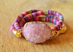 Pink druzy wrap bracelet boho bracelet cool ethno by Schalrausch