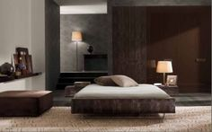Using grey and brown in the bedroom option 2