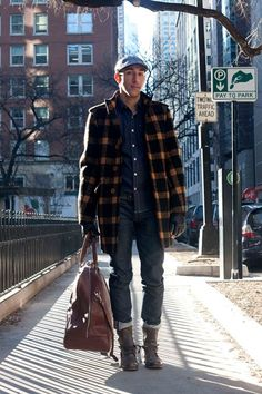 Love his coat! -Street Style Fashion   Men