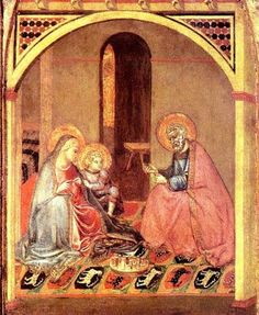 I accidentily came across this image of a knitting Madonna. This is a painting of the Holy Family, attributed to Ambrogio Lorenzetti (ca. 1345) of Siena. Size 54.5 x 25.5 cm. I think I have seen it in person years ago in the Meermanno Museum in The Hague, but didn't notice the knitting back then.
