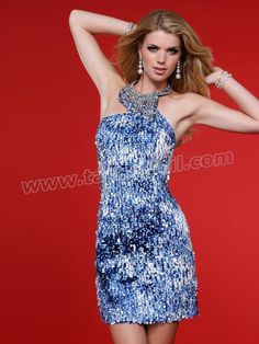 New Fashion Hot Sale Jeweled Neckline Sequined Cocktail Dress