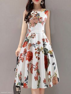Round Neck Floral Printed Skater Dress , Buy Affordable And Fashionable Women's clothing Online. Buy Shoes, Bags, Dresses Etc. Women's Fashion Dresses, Casual Dresses, Floral Dresses, Fashion Clothes, Printed Dresses, Woman Dresses, Dresses Dresses, Fashion Goth, Floral Maxi