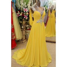 Yellow Prom Dresses, Long Prom Dresses, 2017 Pretty V-neck Long Chiffon Backless Beaded Prom Dresses