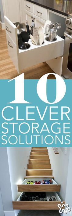Perfect for homeowners and renters alike,  these innovative, clever, hidden storage solutions give your existing cabinet specs to a builder and see if they can't craft a new drawer or slide-in piece with one of these brilliant solutions built right in.