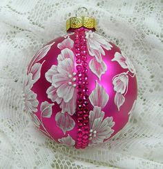 Hot Pink Christmas Ornament with Hand Painted MUD by TheMUDLady, $35.00