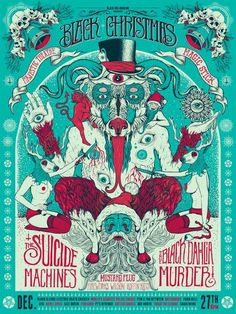 Image of Black Christmas (Suicide Machines/Black Dahlia Murder) Poster The Black Dahlia Murder, Christmas Poster, Game Concept Art, Black Christmas, Concert Posters, Music Posters, Graphic Design Posters, Comic Covers, Graphic Illustration