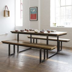This industrial style reclaimed wood dining table was designed by Nikki Sanders. The table top is made from reclaimed wood : Available from Such & Such Yeshen Venema Photography Reclaimed Wood Dining Table, Wooden Dining Tables, Dining Table Design, Wood Table, Dining Furniture, Home Furniture, Furniture Design, Decoration, Barn Wood