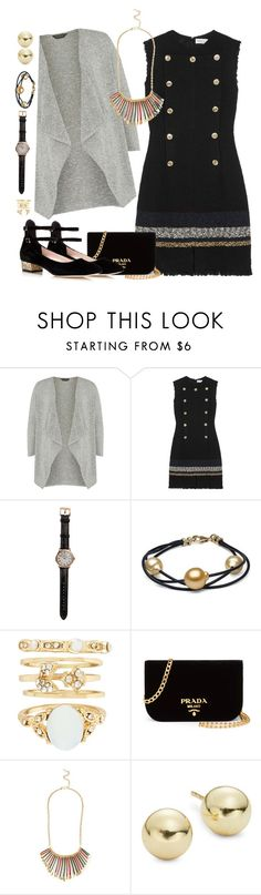 """Black with Silver & Gold"" by petalp ❤ liked on Polyvore featuring Dorothy Perkins, Sonia Rykiel, Shinola, New Look, Prada, Lord & Taylor, Kate Spade, outfit and black"