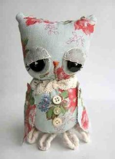 Owl soft toy - floral patterned.