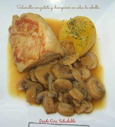 Solomillo con patata y champiñon en salsa de cebolla (Olla GM) -12pp-