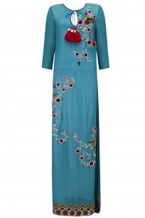 Blue Floral Embroidered Long Tunico #hemantnandita #shopnow #ppus #happyshopping