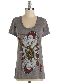 A Queen Win Tee. Make your game night debut in this queen of hearts tee so the other players know just who reigns supreme! #grey #modcloth