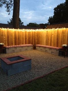 Fairy Light Fence and Cinder Block Benches