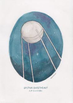 Watercolor illustration of Haruki Murakami's novel Sputnik Sweetheart by illustrator / artist @arosecast
