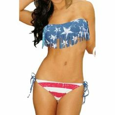 bikini 2 piece set. Injoy Women' Padded USA American Flag Fringe Tassel Swimsuits. Cute swimsuit. Top fits perfect. The bottom was a bit small for me at least, since I do have hips & and a bigger bottom. #bikinis