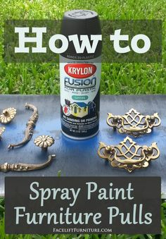 How to spray paint vintage furniture pulls.Give dated hardware a whole new life and look! Spray Paint Dresser, Spray Paint Furniture, Furniture Makeover, Diy Furniture, Furniture Design, Furniture Projects, Furniture Stores, Furniture Plans, Furniture Refinishing
