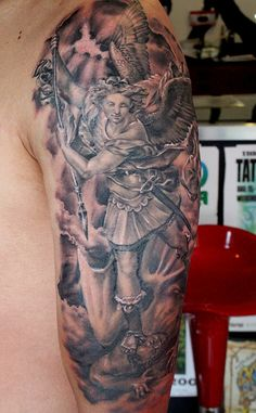 Saint Michael tattoo by Mirek vel Stotker