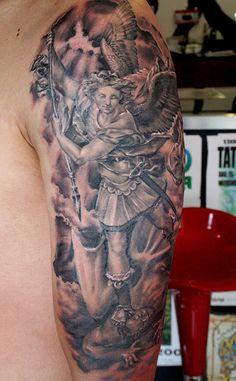 Saint Michael tattoo by Mirek vel Stotker