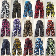 Men's ACCESS desert red black grey green cargo camo shorts style w ...