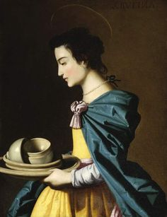 """Francisco de Zurbarán (Studio of) Saint Rufina The Fitzwilliam Museum, University of Cambridge, UK """" St. Rufina holds the earthenware which she and St. Justa (patron saints of Seville) sold to support..."""