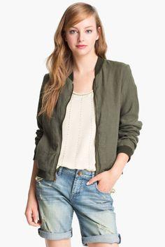 Olivia Moon Linen Bomber Jacket