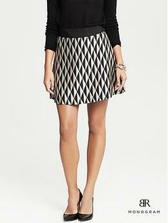 graphic print! shiny material! I think Chelsea would love this if she could feel it. BR Monogram Diamond Jacquard Full Skirt | Banana Republic
