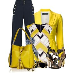 Yellow and Black by flowerchild805 on Polyvore featuring Oasis, Dsquared2, Chloé, Versace, River Island, Mela Artisans and Stella & Dot