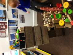 """Fab resources in the construction area ("""",) Love the images of buildings on the wall."""