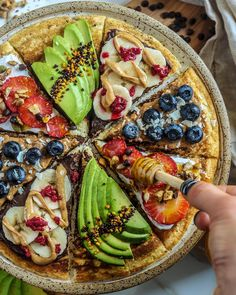 PANCAKE PIZZA for TWO! Happy Saturday loves. Enjoyed a slow morning today making breakfast with a friend. So much more fun when you're cooking for someone else too. It's beautiful out. Going to go... Dessert Pizza, Breakfast Dessert, Coconut Milk Yogurt, Whole Food Recipes, Healthy Recipes, Slow Mornings, Paleo Pancakes, Gluten Free Living, Low Fat Diets