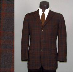Vintage Mens Sport Coat Jacket 1950s MOD Black and Bronze Plaid by jauntyrooster, $65.00