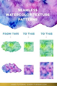 video tutorial: create a seamless watercolor pattern from any watercolor texture in photoshop! https://every-tuesday.com/create-seamless-watercolor-pattern-photoshop