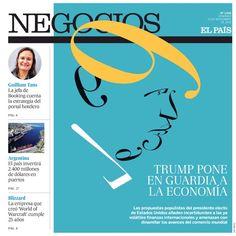 """EL PAÍS - Negocios. """"Trump pone en guardia a la economía"""". Artículo: Sandro Pozzi. Ilustración: Luis Tinoco www.luistinoco.com"""