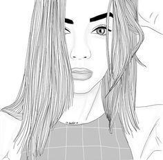 art, beauty, black and white, dibujo, drawing, girl, grunge, hair, outline
