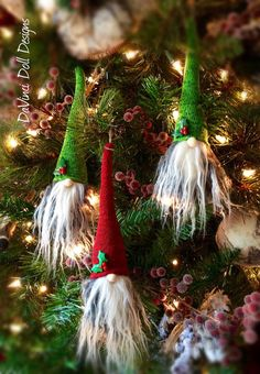 Tomte Nisse Gnome Scandinavian Christmas Hanging Ornaments Set