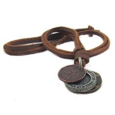 Jewelry leather necklace men necklace women necklace boys necklace chain necklace made of brown leather and metal