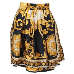 Versace Couture Silk Baroque Scarf Print Skirt | From a collection of rare vintage skirts at http://www.1stdibs.com/fashion/clothing/skirts/